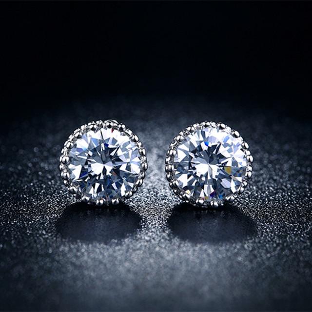 Crown Men Jewelry Stud Earrings For Women Vintage Silver Plated Cz Stone Male Brincos Wedding