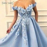 Evening Dresses 2019 Off the Shoulder Flower Beaded Formal Evening Gown Long Prom Dress Blue Dress Party Vestido de Fiesta NE24