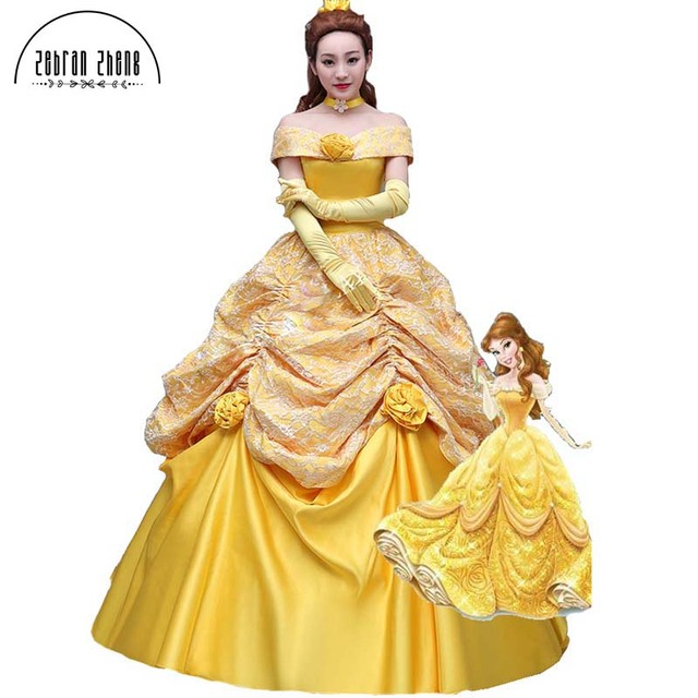 Top Quality Fashion Beauty And The Beast Dress Princess Belle Cosplay  Costume Dress For Women Halloween Costumes Custom-Made b317187d20a6