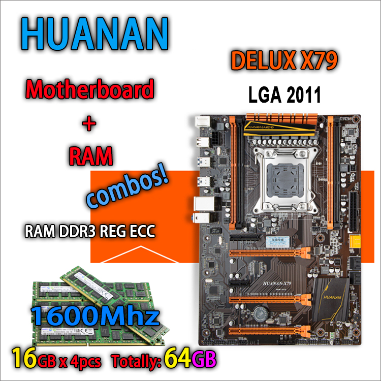 HUANAN golden Deluxe version X79 gaming motherboard for intel LGA 2011 ATX 4 combos 4 x 16GB 64GB 1600Mhz DDR3 RECC Memory