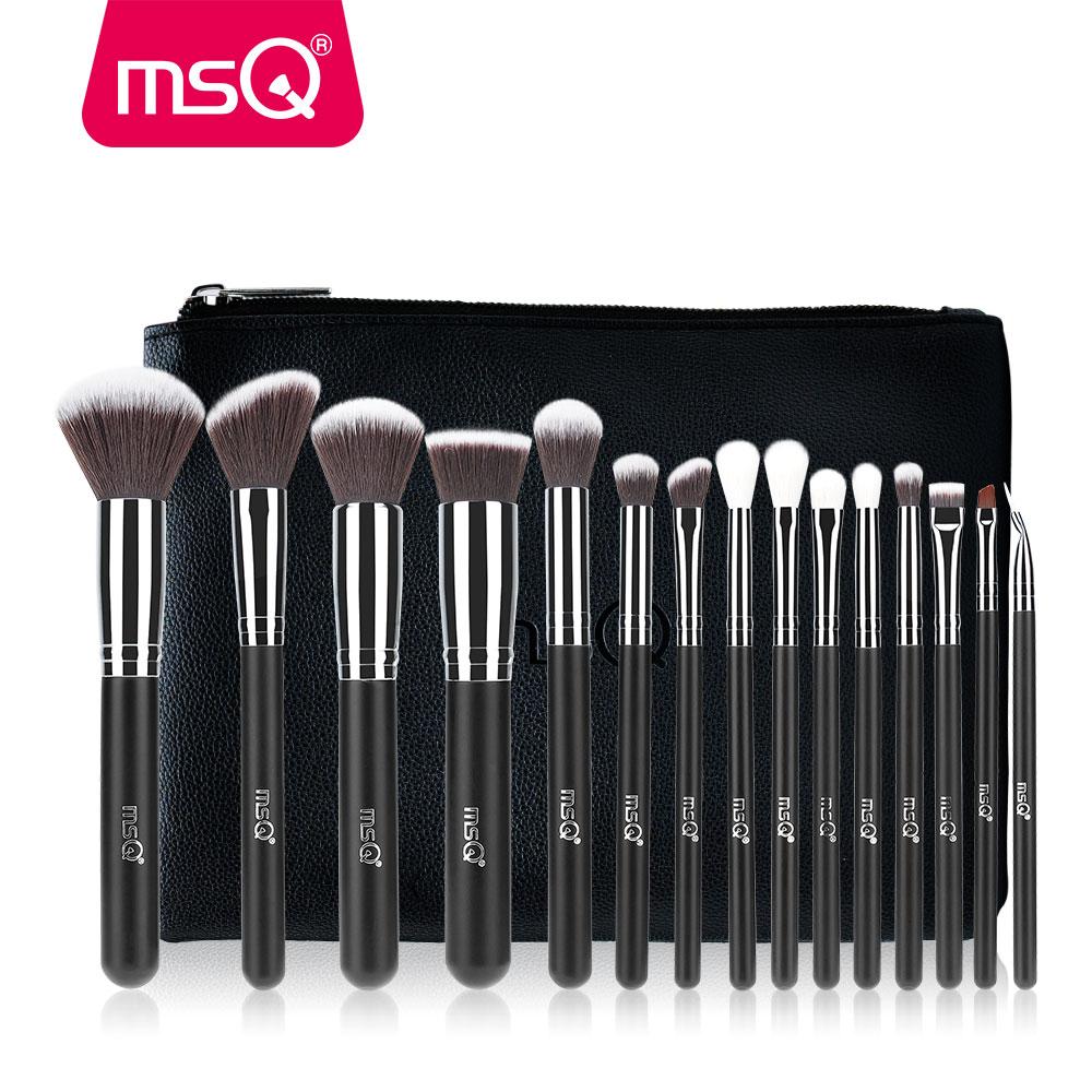 MSQ 15pcs Pro Makeup Brushes Set Foundation Eye Blusher Make Up Brushes Kit High Quality Synthetic Hair With PU Leather Case