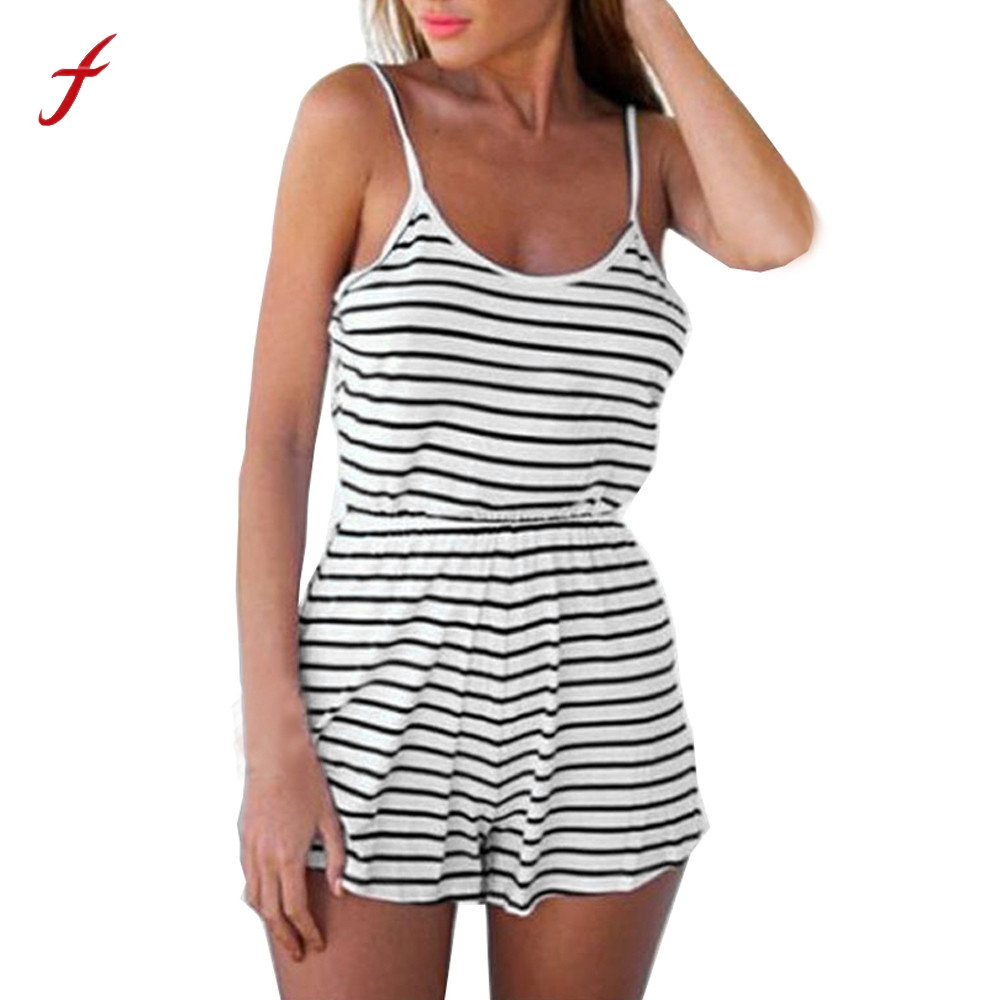 Women Casual Ladies Jumpsuit Romper Summer Beach Striped Backless Vest Playsuit combinaison short femme bodycon jumpsuit overall