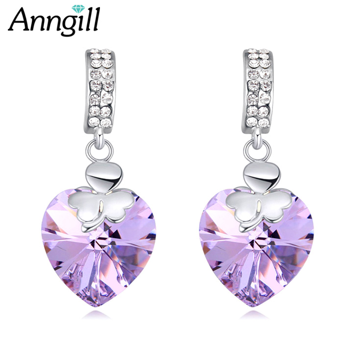 ANNGILL Lucky Clover Love Heart Earring Original Crystals From SWAROVSKI Beautiful Wedding Crystal Drop Earring For Women Gift