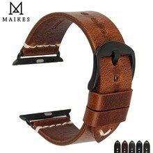 MAIKES bracelet en cuir véritable pour Apple Watch, accessoires de 38mm 42mm, 44mm 40mm, iWatch série 4 3 2 1