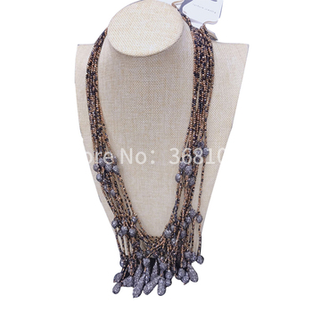 European and American necklace female exaggerated costly deserve to act the role of long crystal female pendant