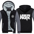 2016 Winter Jackets and Coats Linkin Park hoodie Anime Luminous Hooded Thick Warm Zipper Men Sweatshirts USA EU size Plus size