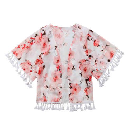 Новинка 2018 года, Летнее Детское кимоно с бахромой и цветочным рисунком для девочек от 2 до 6 лет, куртка-кардиган, рубашка Boho, блузка пляжные топы для девочек