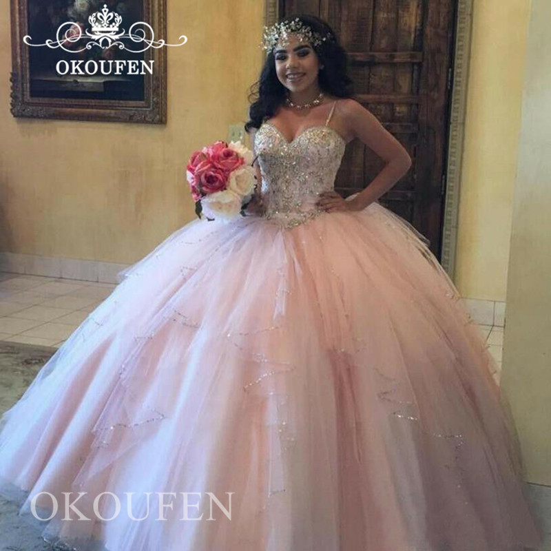 Light Pink Tulle Quinceanera Dresses 2019 Silver Beads Crystal Puffy Ball Gown Long Prom Dress Party Vestidos De 15 Anos