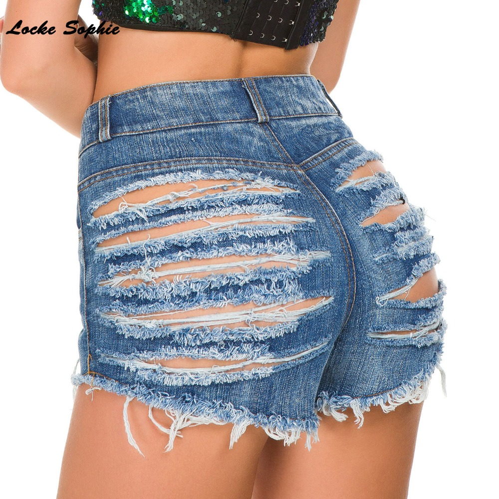1pcs High waist Sexy Women 39 s jeans denim shorts 2019 Summer Fashion Denim broken hole Ladies Skinny cotton super short jeans in Shorts from Women 39 s Clothing