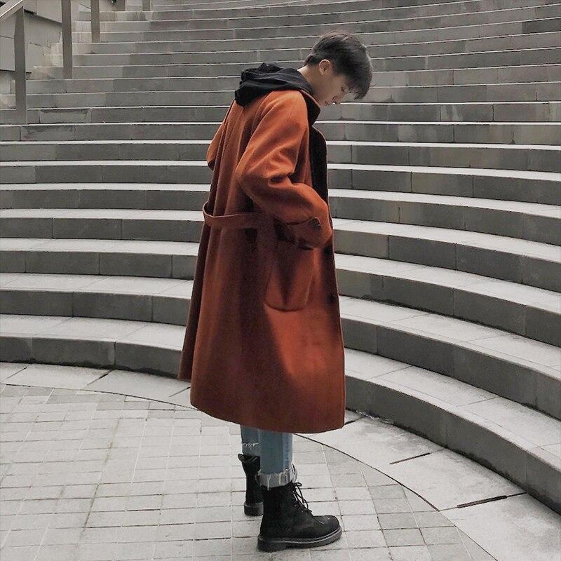 2018 Einfarbig Woolen Mantel Herbst Und Winter Kleid Lange Fonds Lose Mantel Männer Männlichen Windjacke Mode Empfehlen Schwarz M-2xl Ausgezeichnete (In) QualitäT