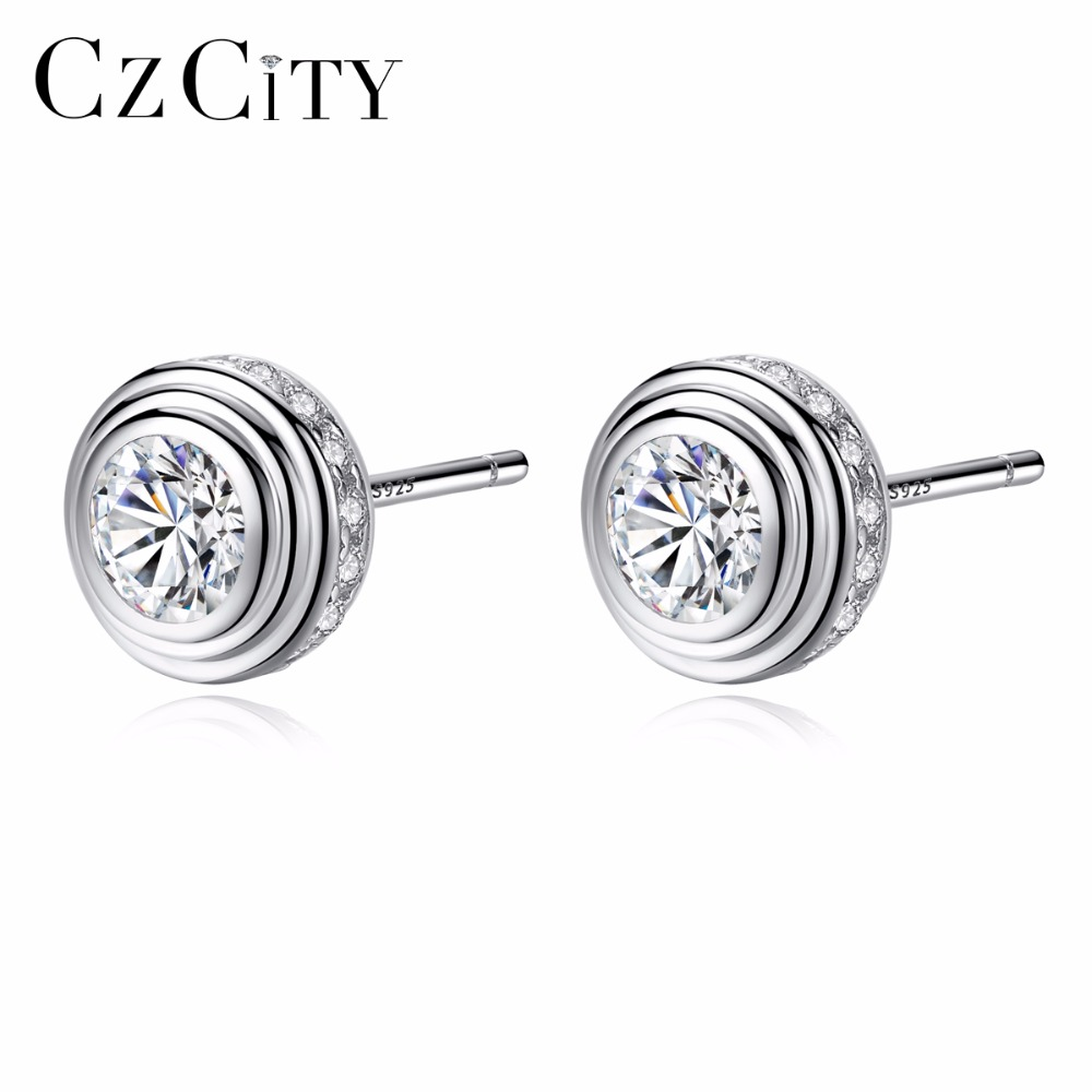 CZCITY Brand Clear Zircon Really 925 Sterling Silver Stud Earrings For Women Romantic Round & Lovely Style Fine Jewelry Gift