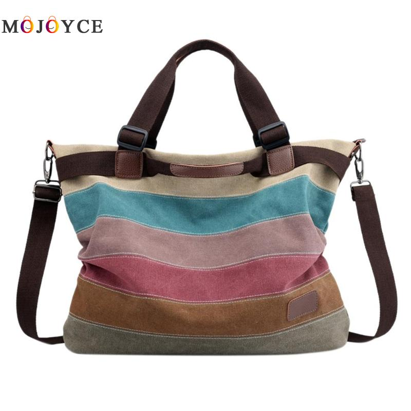 3 Ways Wearing Women Canvas Shoulder Bag Rainbow Color Stripes Big Capacity Shopping Tot ...