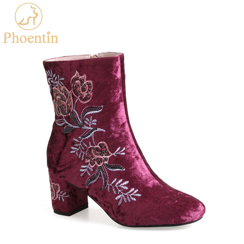 Phoentin embroider ankle boots for women grey velvet flower women - Women's Shoes