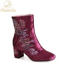 Otsizme kyçin e këmbës Phoentin për gra gri kadife lule për gratë