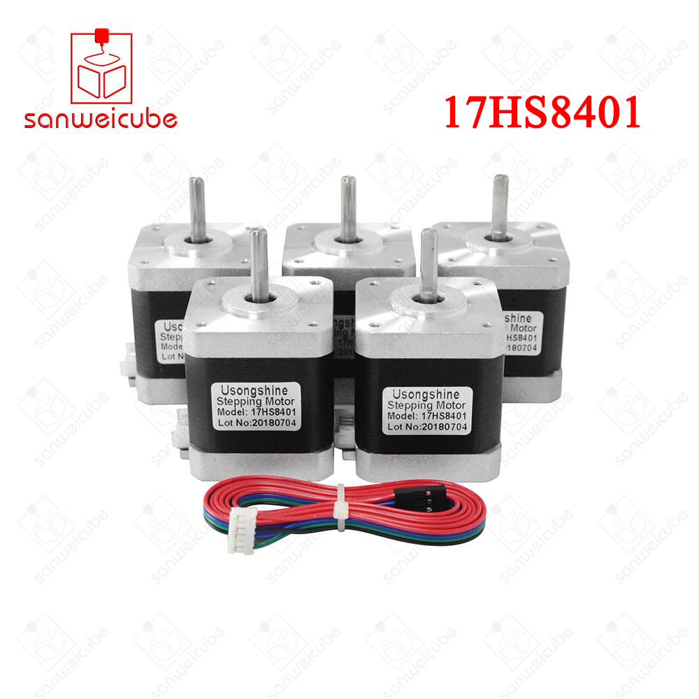5pcs/lot 4-lead 17HS8401 motor Nema17 Stepper Motor with wires 42 motor 1.8A CE ROSH CNC Laser for 3D printer motors with wires 1pc 1 8 degree nema42 stepper motor 110hs99 5504 with 4 wires 5 5a 48v 220v 11 2n m cnc mill cut engraver 3d printer