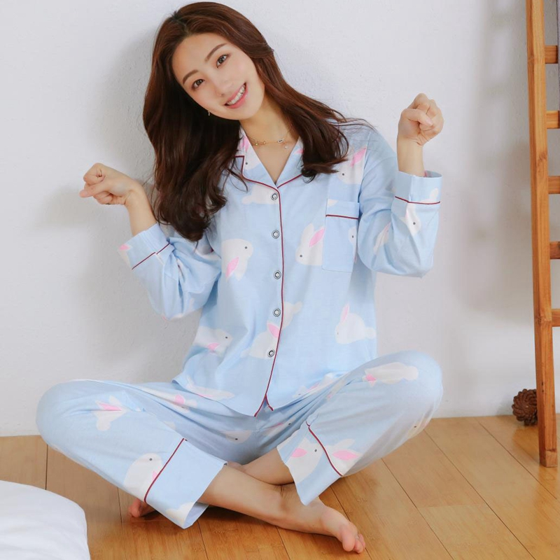 2018 Autumn Casual Home Clothing 90s Girls 100% Cotton Pajama Sets Femme Long Sleeve Pyjama Loungewear Homewear Pijama for Women