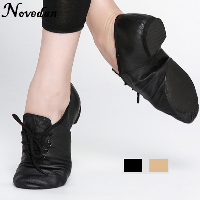Woman's Leather Jazz Dance Shoes Lace Up Boots Practice Yoga Shoes Soft and Light Jazz Boots Hip Hop Sneakers casual bowknot lace up jazz hat