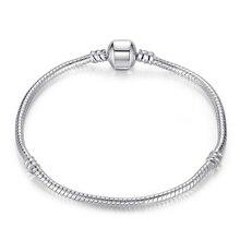 10 шт./партия, модный посеребренный застегивающийся браслет-змейка, очаровательные браслеты и браслеты для европейских бусин, ювелирные изделия DIY PP01