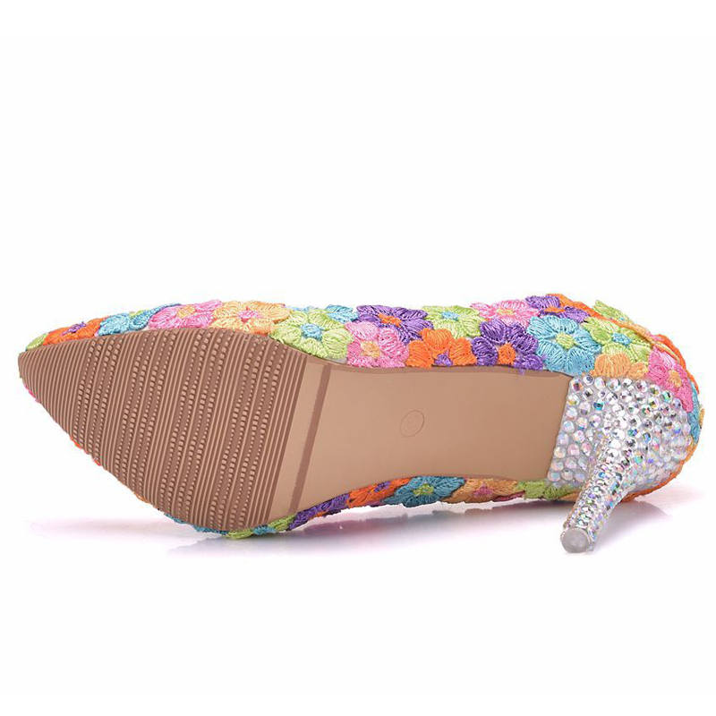 c0ada507931 2018 Custom Made 9cm High Heel Wedding Dress Shoes Multicolor Lace ...