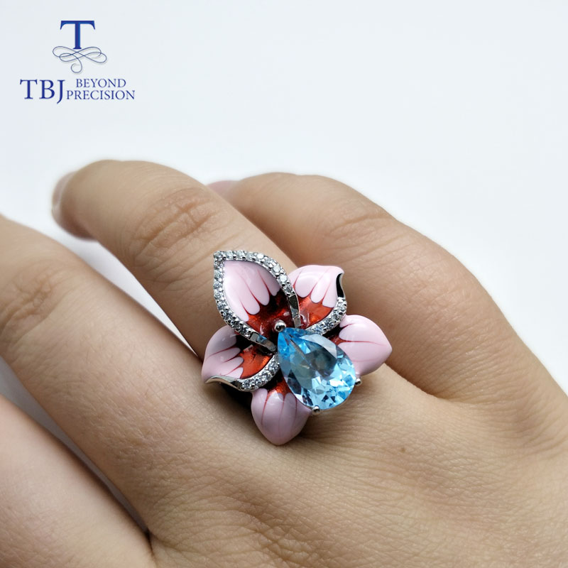 TBJ 2018 new enamel Flower jewelry set with natural Brazil blue topaz gemstone fine jewelry 925