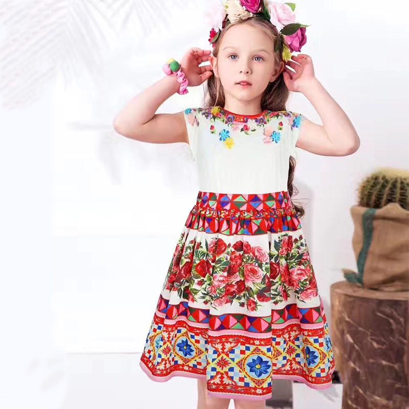 Free Ship W.L.MOSNOON Girl Princess Dress with Appliques Flower Brand Summer Children Dress for Kids Cloth Floral Toddler Dress