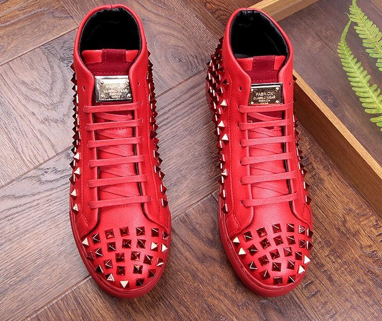 Noir En Caoutchouc Homme Bas Britannique Rrivet Haut Luxe Mode 3 Haute De Or Chaussures Qualité Style 1 2 Pour Hommes Casual Rouge sQtCxhdr