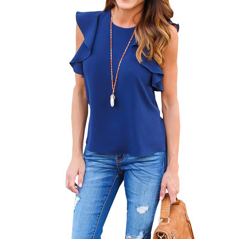 Women Chiffon Short Sleeve Blouse Fashion Summer Sexy O Neck Sleeveless Ruffle Tee Shirts Casual Slim Solid Blusas Tops