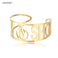 ISHOW Gold Color Bracelets Bangles For Women Letters Statement Bohemia Jewelry Copper Knot Cuff Manchette Bangles