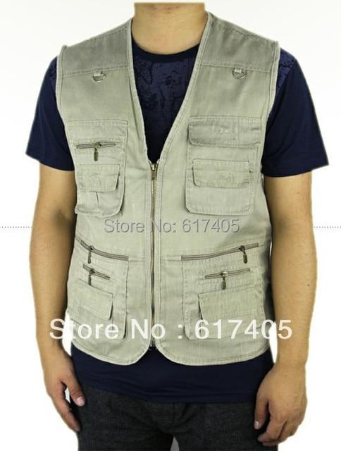 2016 Summer Men's Hot sale Plus Size 4XL 5XL Jacket Denim Vest Casual Multi-pocket Waistcoat Men Free Shipping