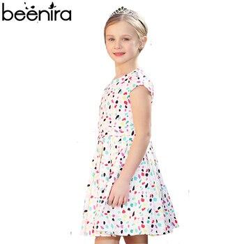 BEENIRA Summer Girls Dress Child Dot Print Draped Clothing for Princess Draped short sleeve a line 4Y-11Y High Quality фото
