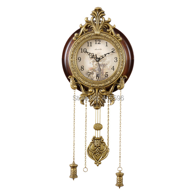 Metal Art Antique Solid Wooden Big Wall Clock Super Silent