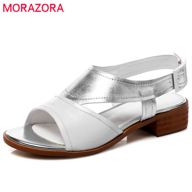 29b1dab9e MORAZORA 2019 new style women sandals buckle genuine leather shoes ladies  mixed colors summer shoes fashion casual shoes woman