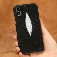 Top Genuine Leather For Apple IPhone X Back Case Luxury Pearl Fish Skin Customize Mobile Phone