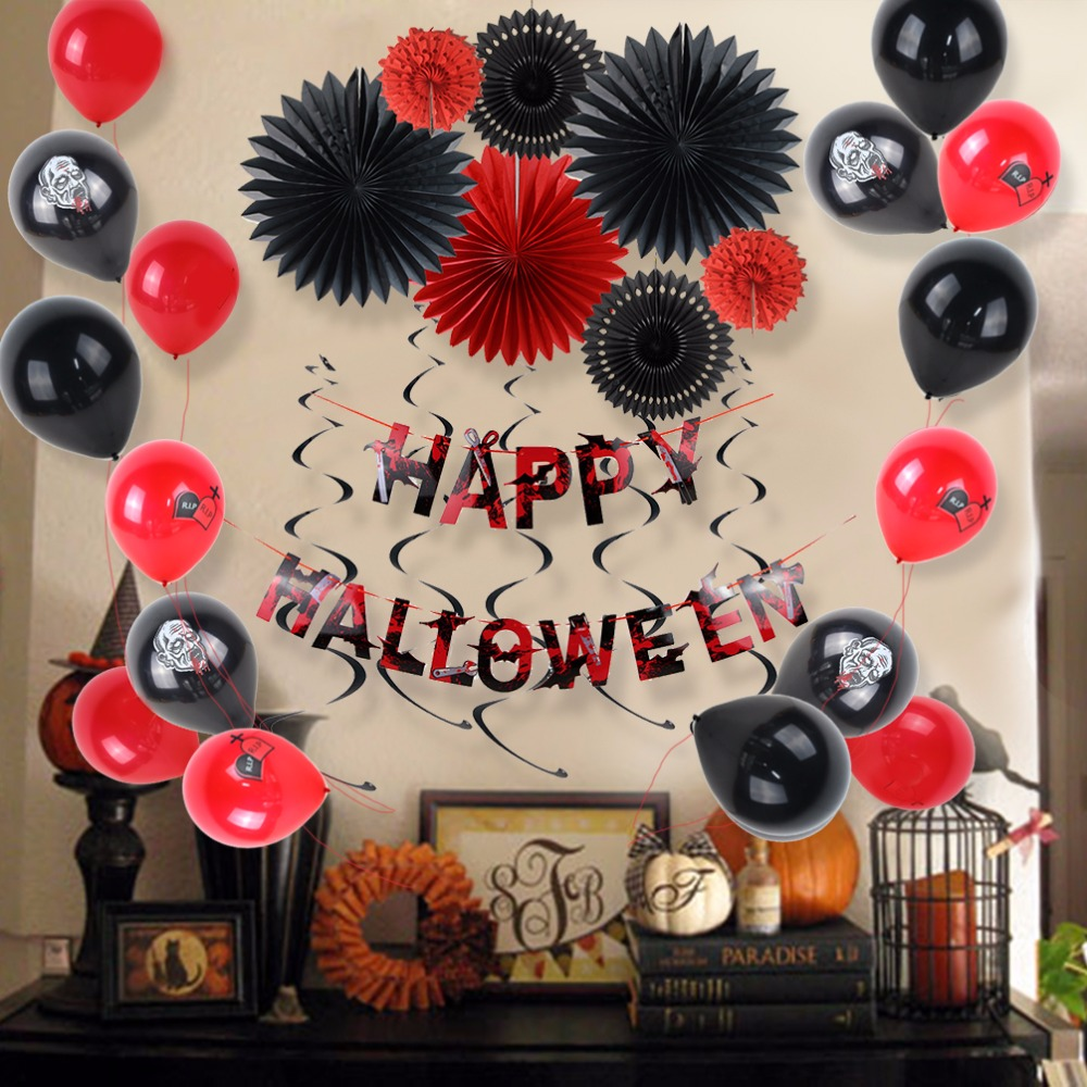 Sunbeauty Happy Halloween Party Decoration (Swirl, Balloon, Paper Fan For Decor) Hanging Decorations