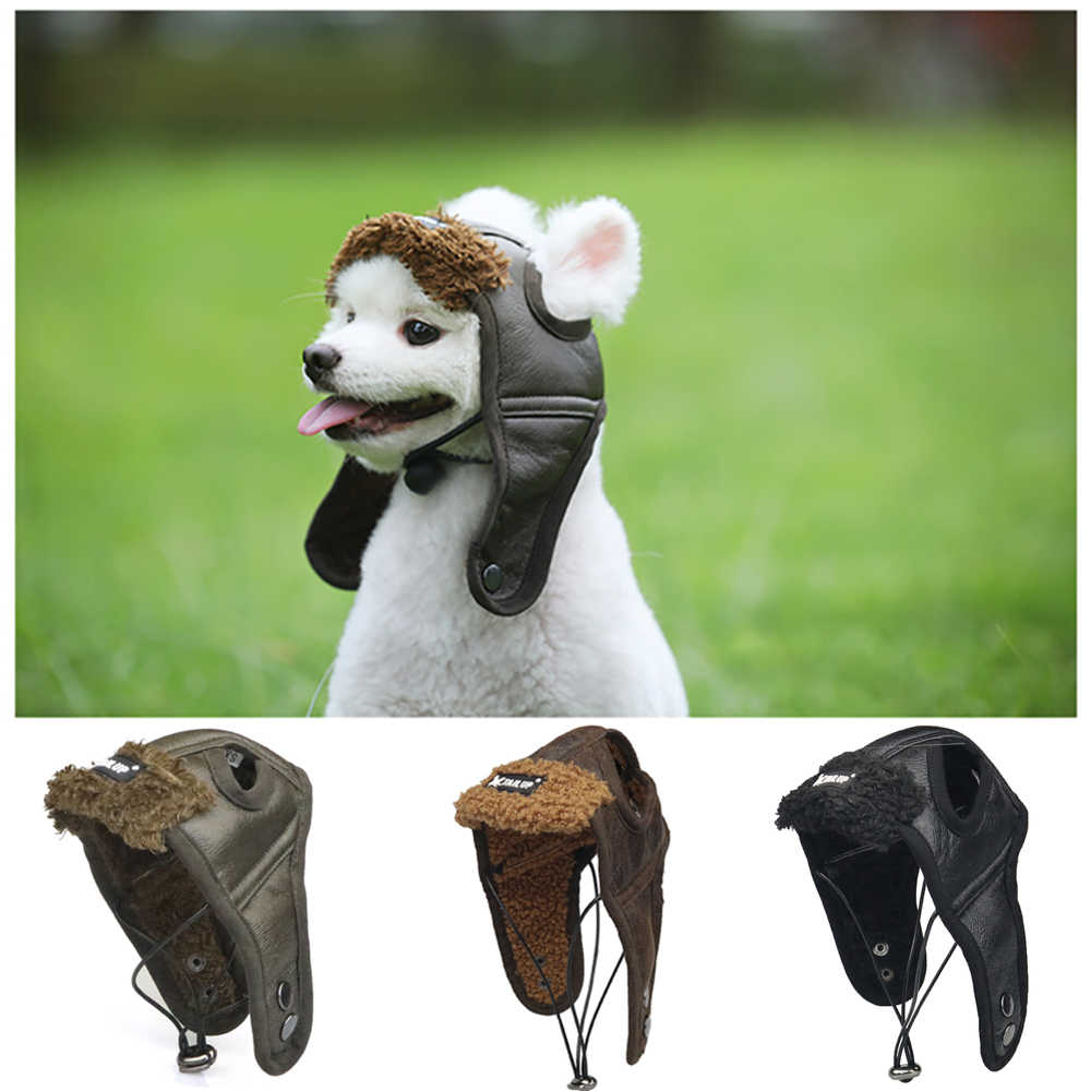 Detail Feedback Questions about Warm Dog Pilot Hat Leather Dog Cap Cheap Pet  Caps For Dogs Hats Pets Products Funny Cosplay Pet Dog Halloween Hat For ... c2f1c43ebaf8