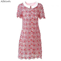 Short sleeved 2018 summer new women's small fragrance ladies hollow out pen doll collar lace dress summer mini pink dress