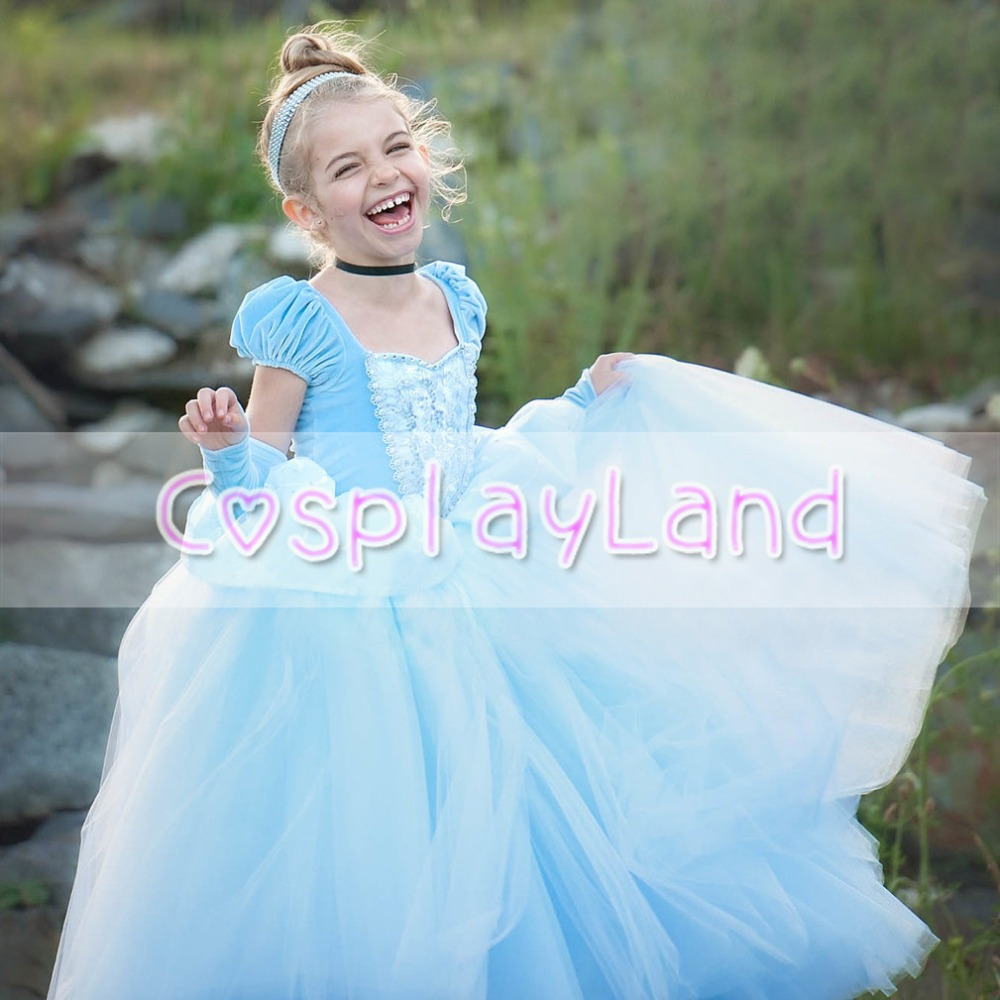 Girls Dresses Costume Cinderella Dining Gown Child Cinderella Princess Dress Cosplay Party Fancy Dress