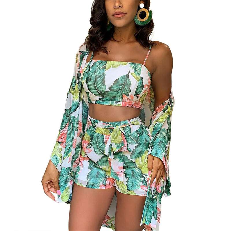 Summer New Women Boho 3Pcs Floral Print Cardigan Blouse+Crop Top+Shorts Lady Holiday Beach Three Pieces Set Casual Shorts Sets