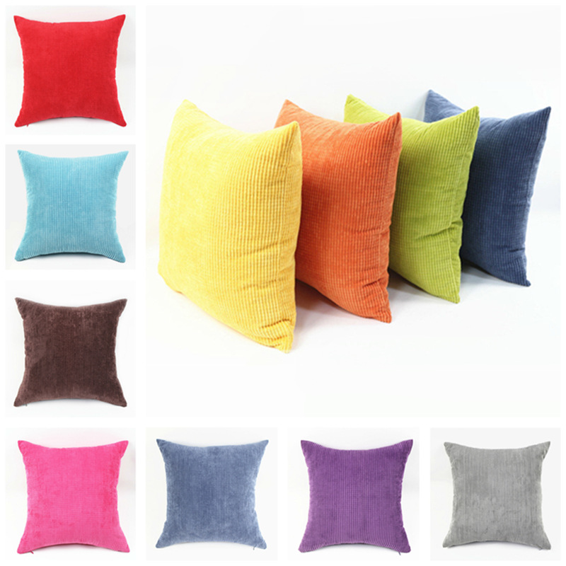 cheap direct sales two sided stripe plaid soft corduroy plush colorful pure decorative pillows for - Decorative Pillows Cheap