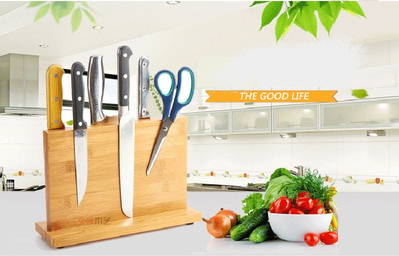 High Quality Creative Magnetic Knife Holder Bamboo Nonporous Clean Health Knife Rack Kitchen Bar Storage Block Knife Block6