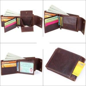 Image 5 - MISFITS Genuine Leather Men Wallets Vintage Hasp Design Women Money Bag Zipper Pocket Card Holder Standard Portomonee Coin Purse