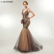 E JUE SHUNG Champagne Black Embroidery Evening Dresses