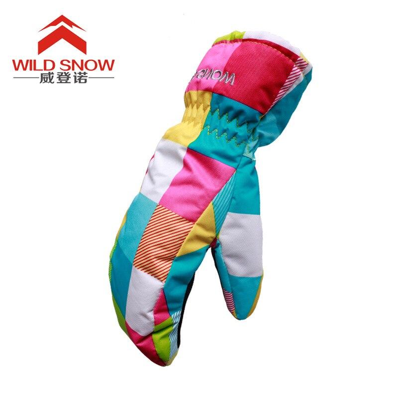 Snowboard Winter Ski Gloves Women Warmth Windproof Waterproof Cute Skiing Gloves Sport Warm Mittens For Girl & Boy