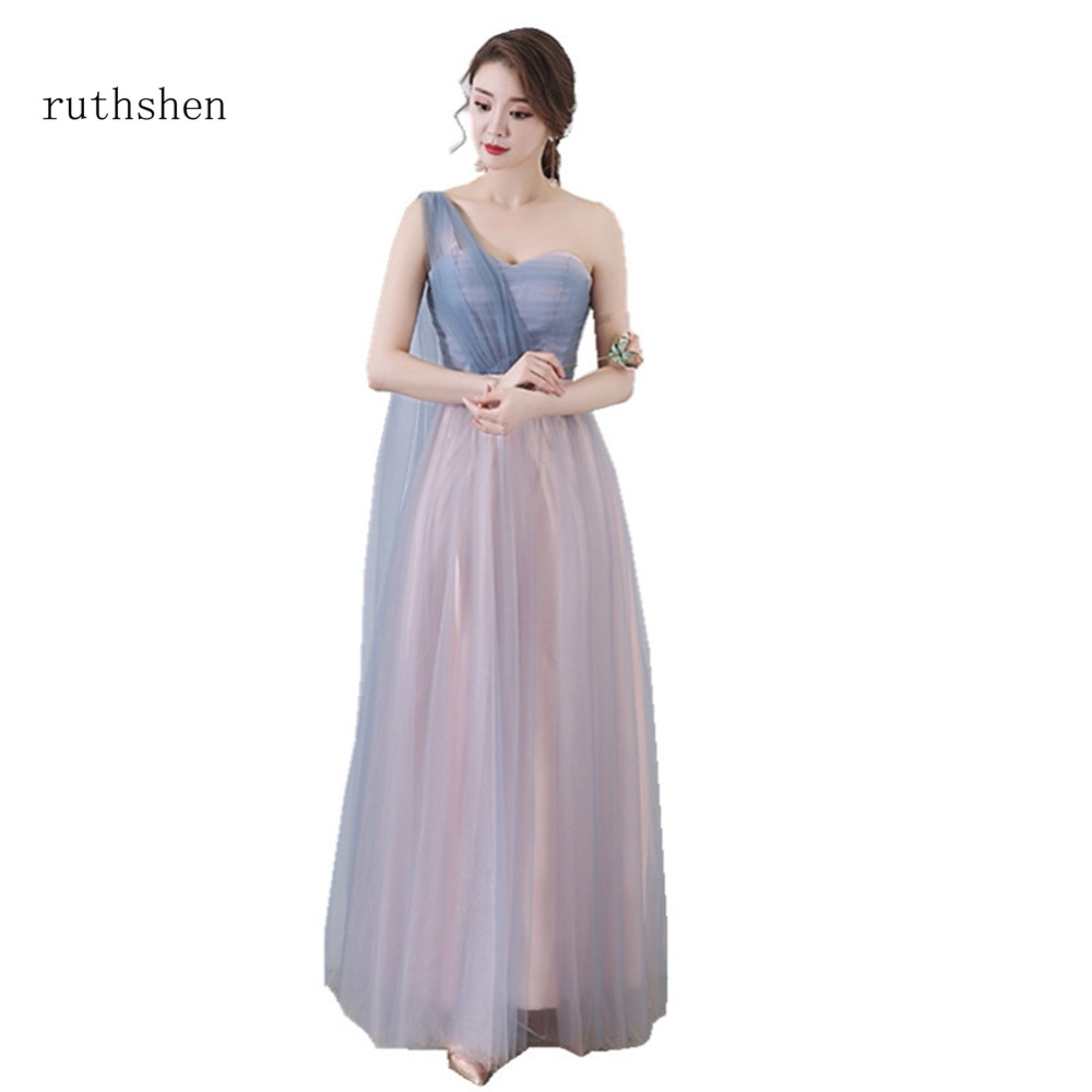 ruthshen 2018 Luxury   Bridesmaid     Dresses   Long One Shoulder Sexy A Line Colorful Party   Dresses   With Bow Belt 2018 Vestido Madrinha