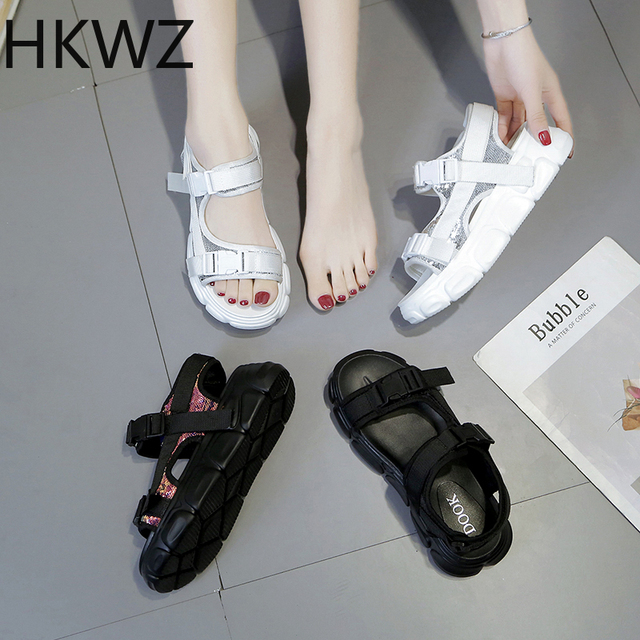 2019 summer thick-soled sequins sandals retro open toe buckle fashion high-top women's shoes wild muffin bottom sports sandals