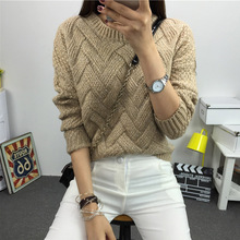 Women Fashion 2018 Spring Sweaters Basic Casual Knitting Winter Pullover Female Warm Gray/Khaki Sweater Twist Pattern,KB911