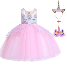 Unicorn Tutu Girls Princess Dress Pastel Rainbow Birthday Party Dresses Kids Halloween Cosplay Unicornio Easter Fancy Costume 3 10year flower girls fancy nancy tutu dress pastel rainbow princess girls birthday party dress children kids halloween costume