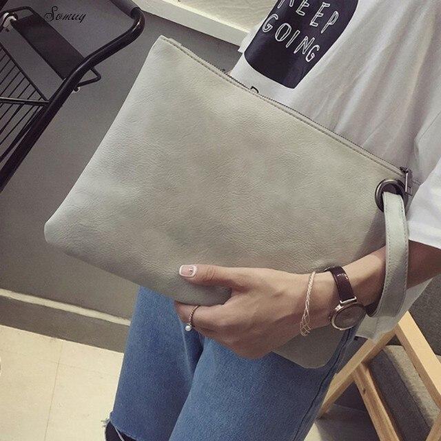 Fashion solid women s clutch bag leather women envelope bag clutch evening  bag female Clutches Handbag Immediately shipping 2152ec2256603