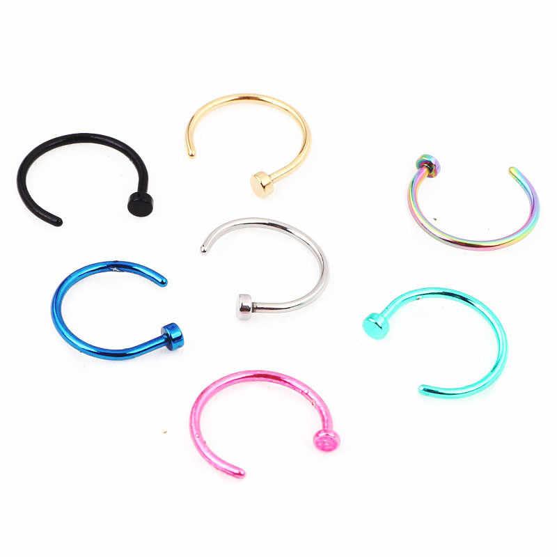 אופנה מזויף פירסינג רפואי טיטניום האף טבעת נשים נירוסטה גוף קליפ חישוק מחץ תכשיטי בנות מסיבת מתנת תכשיט