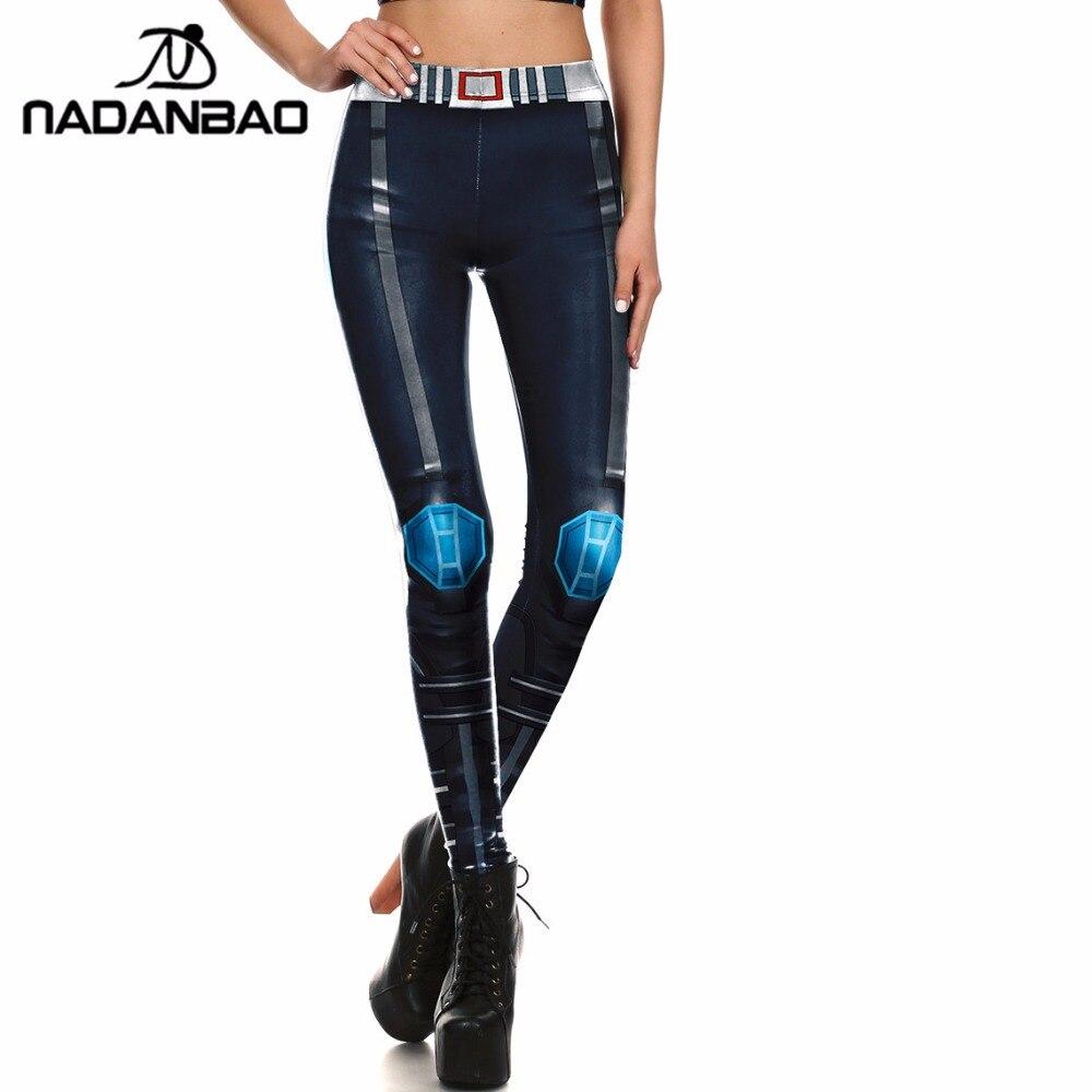 NADANBAO Brand Women Leggings Game Cosplay Movie Character Legins Iron METAL Armour Leggins 3D Printed For Women Pans